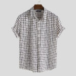New Men Geometric Plaid Short Sleeve Relaxed Shirts
