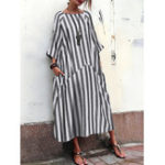 New Women 3/4 Sleeve O Neck Casual Loose Stripe Long Maxi Dress