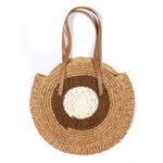 New Women Beach Round Straw Bag Bucket Rattan Woven Handbag Shoulder Bag Outdoor Travel