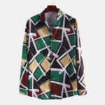 New Men Colorful Geometric Print Long Sleeve Shirts
