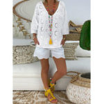 New Women Embroidered Hollow Out Pure Color V-Neck Blouse