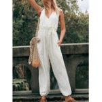 New Women V-Neck Solid Color Elastic Waist Side Pockets Jumpsuit