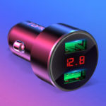 New TOPK 3.1A QC3.0 Dual USB Ports LED Voltage Display Quick Charging Car Charger For iPhone X XS Oneplus XIAOMI MI9 S10 S10+
