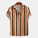 New Men Stripe Turn Down Collar Short Sleeve Shirts