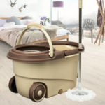 New 360°Rotating Head Easy Floor Mop Water Bucket 2x Heads Microfiber Spin Cleaning Tool