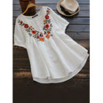 New Irregular Hem Short Sleeve Floral Embroidery Vintage Blouse