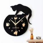 New Silent Cartoon Wall Clock Cute Climbing Cat For Drinking Coffee Clock Wall Decoration Cup Coffee Clock Living Room Home Decor