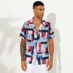 New Men Abstract Graffiti Printed Short Sleeve Shirts