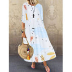 New 3/4 Sleeve O Neck Beach Floral Print Maxi Dress