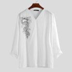 New Men Dragon Print V-Neck Long Sleeve T-Shirts