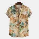 New Men Oriental Landscape Print Short Sleeve Shirts