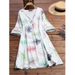 New Women 3/4 Sleeve V-neck Floral Print Mini Pocket Dress