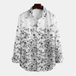 New Mens Fashion Autumn Floral Printed Long Sleeve Casual Shirts