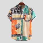 New Men Hawaii Style Oriental Print Short Sleeve Shirts
