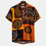 New Mens Ethnic Pattern Printed Short Sleeve Casual Shirts