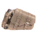 New Vintage Brown PU Leather Left /Right Side Pannier Saddlebags W/ Bottle Holder For Harley Davidson