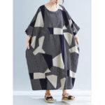 New Women Geometric Print O-Neck 3/4 Sleeve Side Pockets Dress