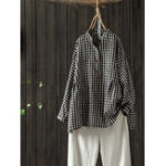 New Women Stand Collar Plaid Button Down Long Sleeve Blouse