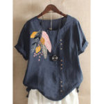 New Women Bohemian Printed Leaves Buttons Short Sleeve T-Shirts