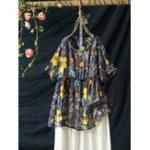 New Women Short Sleeve O-neck Floral Print Patchwork Blouse