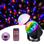 New Upgrade Mini 6 Colors Crystal Ball LED Stage Light Voice Remote Control Lamp for Bar KTV Party Disco