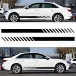 New Universal 2X Car Racing Black Long Stripe Graphics Side Body Vinyl Decals Stickers