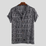 New Men Ethnic Pattern Print Short Sleeve Hawaiian Shirts