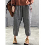 New Women Elastic Waist Plaid Harem Pants with Pocket