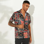 New Mens Ethnic Summer Printed Turn Down Collar Casual Shirts