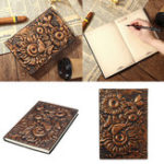 New Vintage 3D Embossed  Sunflower Travel Diary Notebook Journal Leather Notepad