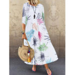 New Bohemian 3/4 Sleeve O-neck Floral Print Casual Maxi Dress