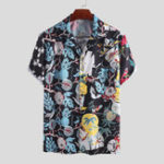 New Mens Ethnic Style Colorful Printed Short Sleeve Casual Shirt