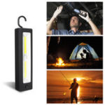 New COB Work Lamp AA Battery Flashlight Magnetic Attraction Camping Light With Hook