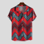 New Mens Ethnic Wave Stripe Printed Loose Comfy Casual Shirts