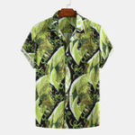 New Men Printed Short Sleeve Turn Down Collar Casual Shirts
