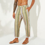 New Mens Ethnic Style Striped Pattern Casual Loose Pants