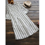New Short Sleeve Button Stripe Casual Shirt Dress