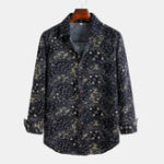 New Men Printed  Spring Casual Turn Down Collar Long Sleeve