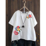 New Women Embroidered O-Neck High Low Hem Short Sleeve Blouse