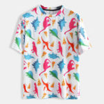 New Men Dinosaur Print Short Sleeve Crew Neck T-Shirts