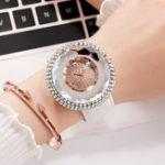 New Deffrun Diamond Elegant Design PU Leather Ladies Wrist Watch