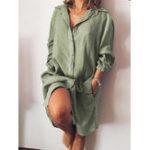 New Women Long Sleeve V-neck Button Pocket Dress