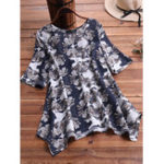 New Irregular Hem O-neck Floral Print Half Sleeve Vintage Blouse