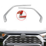 New 2Pcs Chrome Front Grill Grille Decorative Cover Trim Strips For Toyota Rav4 2019