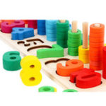 New Children Wooden Learning To Count Numbers Matching Digital Shape Logarithmic Board Early Education Teaching Math Board Game Toy