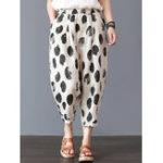 New Women Elastic Waist Polka Dot Print Casual Pants
