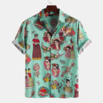 New Palace Characters Print Short Sleeve Shirts