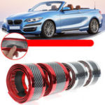 New 1M x 7cm/1M x 5cm Universal Car Stickers Carbon Fiber Rubber Door Sill Protector Bumper Guard Strip
