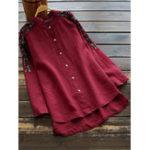 New Cotton Embroidery Asymmetric Blouse