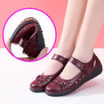 New Women Casual Stitching Pure Color Hook Loop Flats